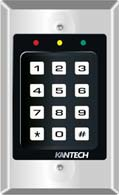 KANTECH kp-500 The KP-500 digital keypad is specifically designed as a cost-effective solution for access control systems requiring the use of a keypad. Rugged, compact and ideal for high traffic indoor use.(9845 bytes)